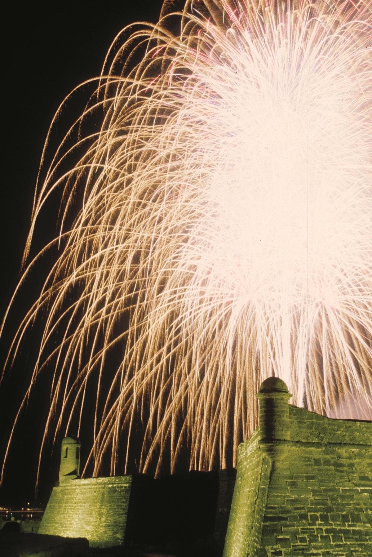 Fireworks over the Castillo de San Marcos, courtesy of FloridaHistoricCoast.com