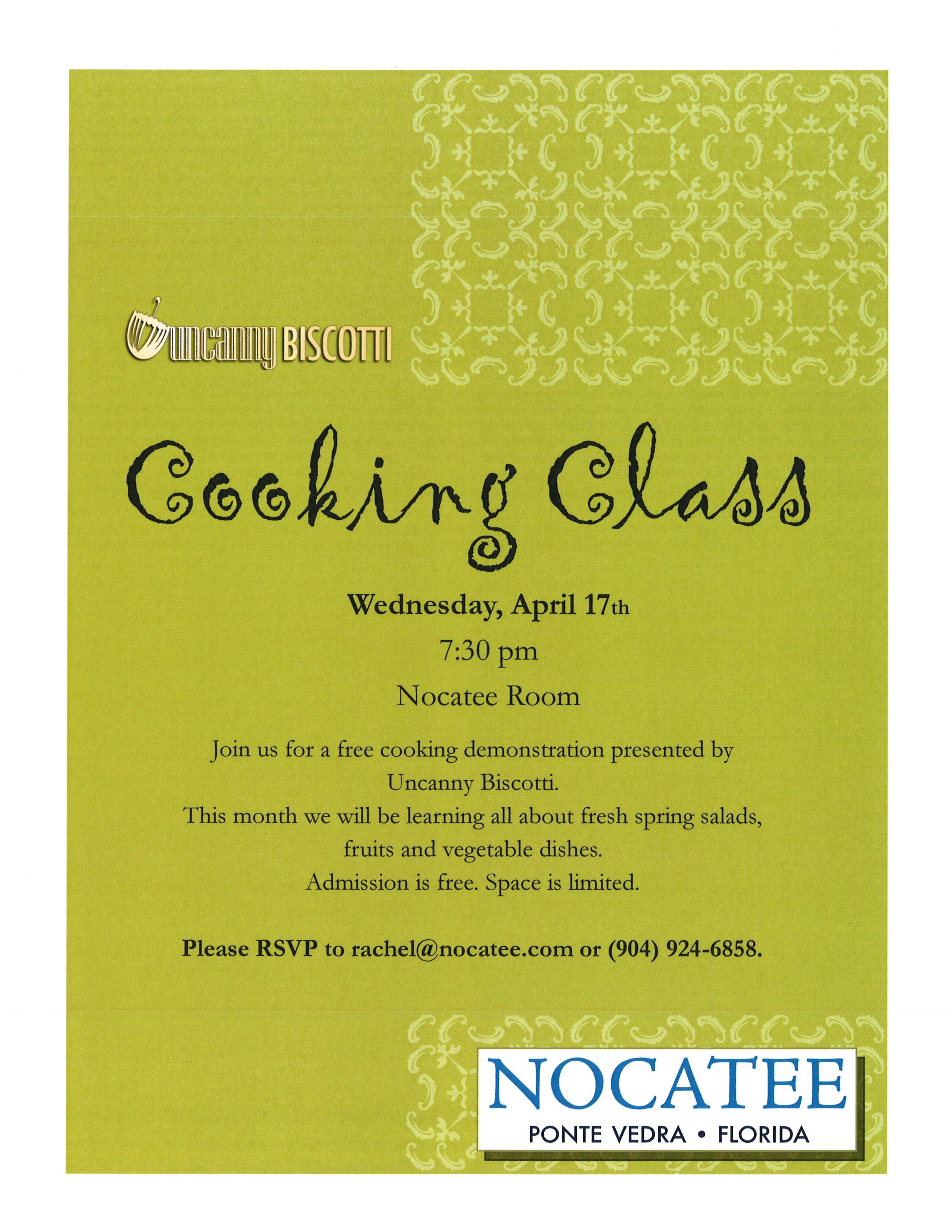 Nocatee cooking class flyer