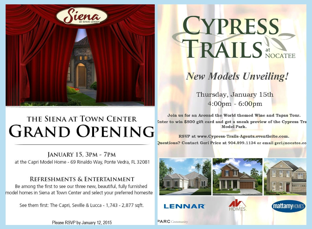 Nocatee Model Grand-Openings at Cypress Trails and Siena at Town Center