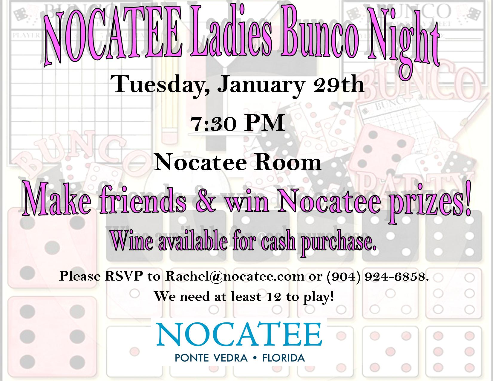 Ladies Bunco January 29th