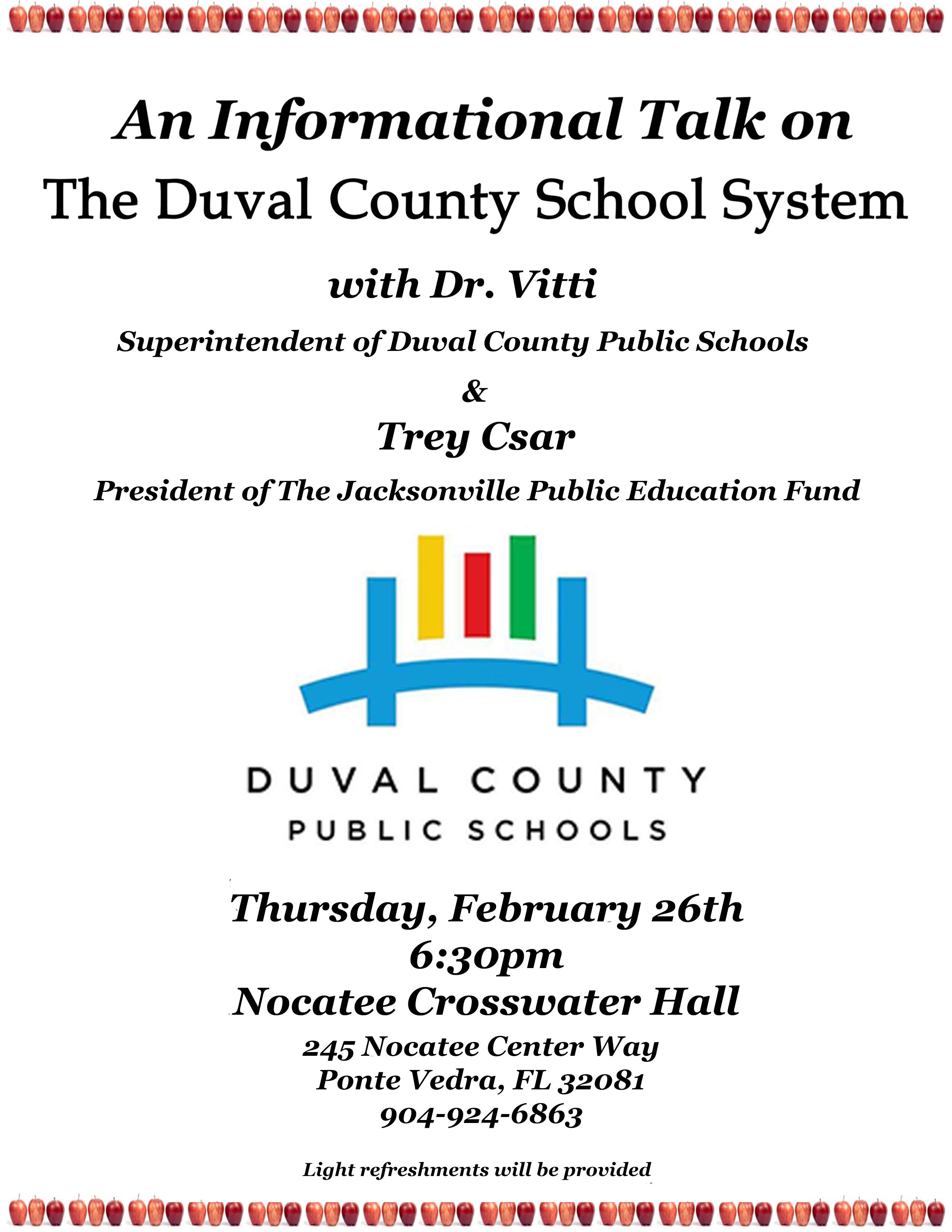 Informational Talk on Duval County School System at Nocatee