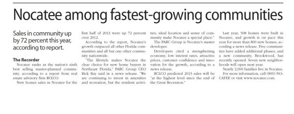 Nocatee among fastest-growing communities_Ponte Vedra Recorder
