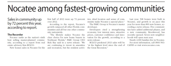 Nocatee among fastest-growing communities_Ponte Vedra Recorder