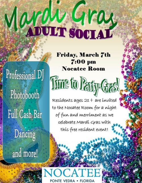 Mardi Gras Nocatee Adult Social at Crosswater Hall