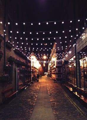 holiday lights historic street