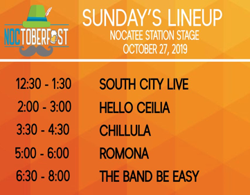 Noctoberfest 2019 Sunday Line Up